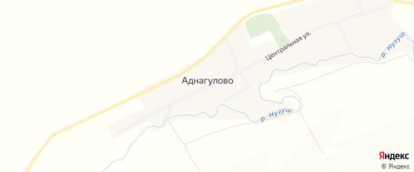 Карта села Аднагулово в Башкортостане с улицами и номерами домов