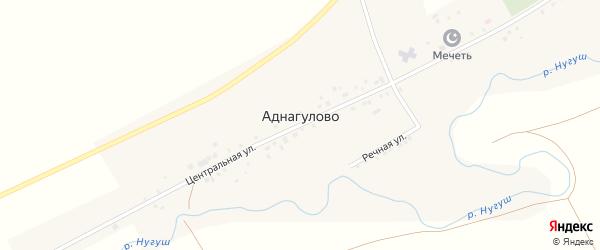 Дорожная улица на карте села Аднагулово с номерами домов