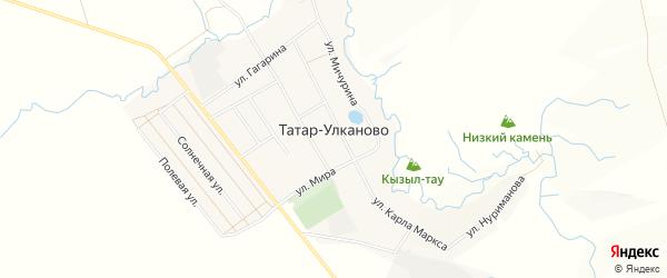 Карта села Татар-Улканово в Башкортостане с улицами и номерами домов