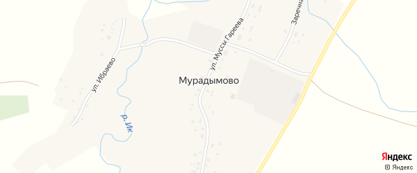 Заречная улица на карте деревни Мурадымово с номерами домов