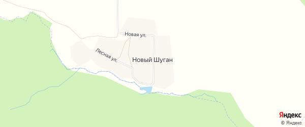 Карта деревни Нового Шугана в Башкортостане с улицами и номерами домов