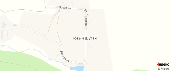 Улица Гилязева на карте деревни Нового Шугана с номерами домов
