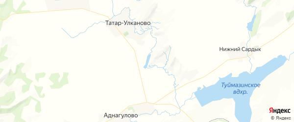 Карта Татара-Улкановского сельсовета республики Башкортостан с районами, улицами и номерами домов