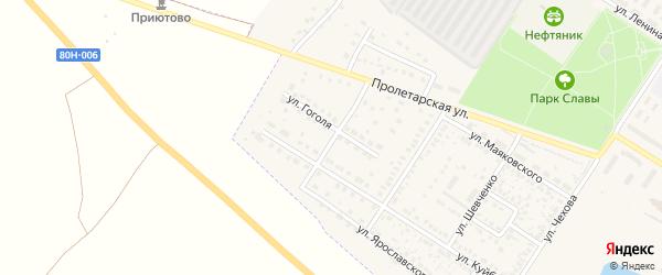 Улица Гоголя на карте поселка Приютово с номерами домов
