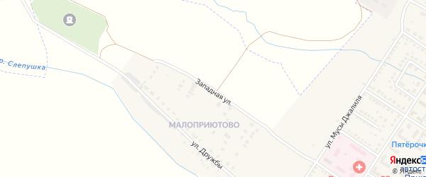 Западная улица на карте поселка Приютово с номерами домов