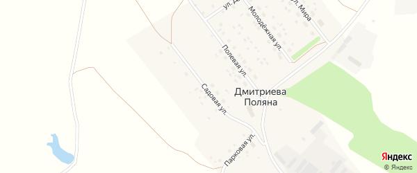 Садовая улица на карте деревни Дмитриевой Поляны с номерами домов