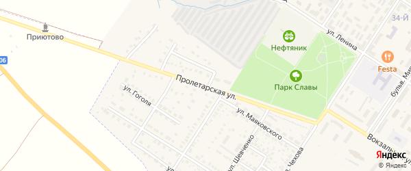 Пролетарская улица на карте поселка Приютово с номерами домов