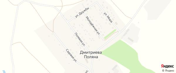 Полевая улица на карте деревни Дмитриевой Поляны с номерами домов