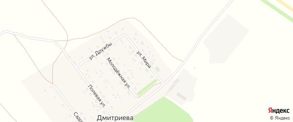 Улица Мира на карте деревни Дмитриевой Поляны с номерами домов