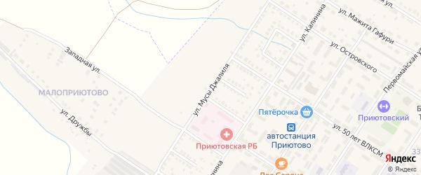Улица Мусы Джалиля на карте поселка Приютово с номерами домов
