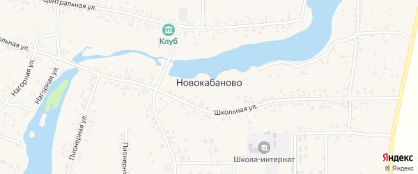 Школьный переулок на карте села Новокабаново с номерами домов