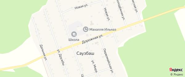 Дорожная улица на карте деревни Саузбаша с номерами домов