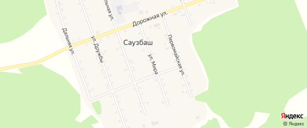Улица Мира на карте деревни Саузбаша с номерами домов