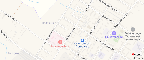 Улица Калинина на карте поселка Приютово с номерами домов