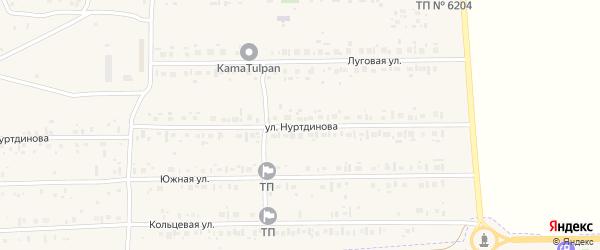 Улица Нуртдинова на карте села Новокабаново с номерами домов