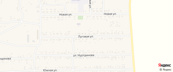 Луговая улица на карте села Новокабаново с номерами домов