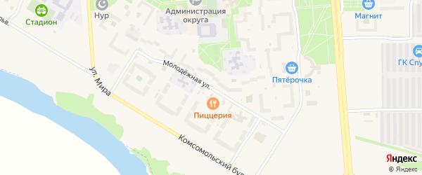 Молодежная улица на карте Агидели с номерами домов
