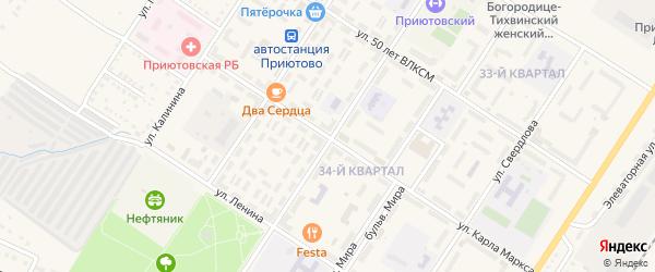 Улица Карла Маркса на карте поселка Приютово с номерами домов