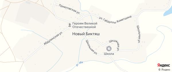 Красная улица на карте села Нового Биктяша с номерами домов