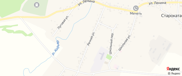 Речная улица на карте села Старокатаево с номерами домов