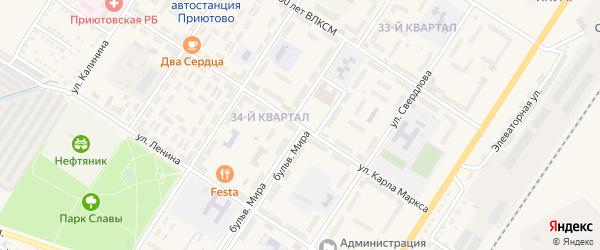 Бульвар Мира на карте поселка Приютово с номерами домов