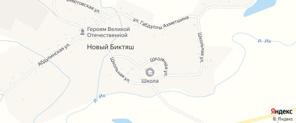 Школьная улица на карте села Нового Биктяша с номерами домов