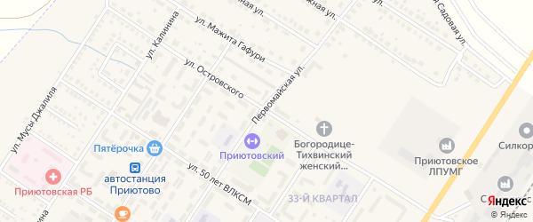 Улица Островского на карте поселка Приютово с номерами домов