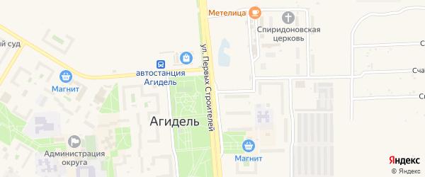 Улица Первых Строителей на карте Агидели с номерами домов
