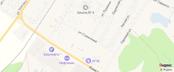 Улица Строителей на карте поселка Приютово с номерами домов