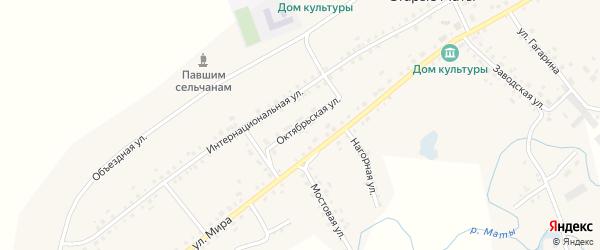 Октябрьская улица на карте села Старые Маты с номерами домов