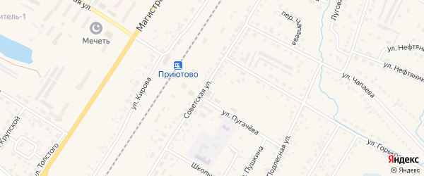 СНТ Железобетон на карте поселка Приютово с номерами домов