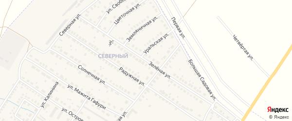 Зеленая улица на карте поселка Приютово с номерами домов