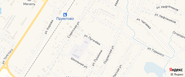 Улица Пугачева на карте поселка Приютово с номерами домов