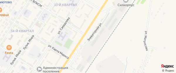 Элеваторная улица на карте поселка Приютово с номерами домов