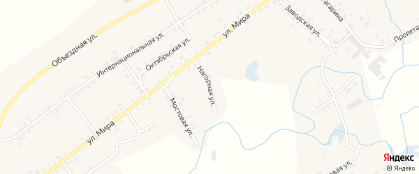 Нагорная улица на карте села Старые Маты с номерами домов