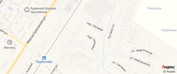 Переулок Чапаева на карте поселка Приютово с номерами домов