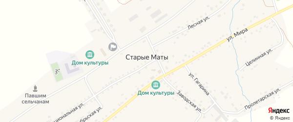 Береговая улица на карте села Старые Маты с номерами домов