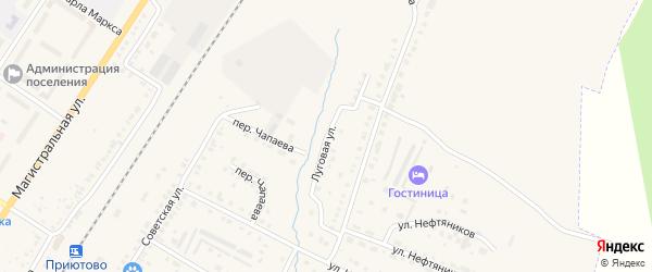 Луговая улица на карте поселка Приютово с номерами домов