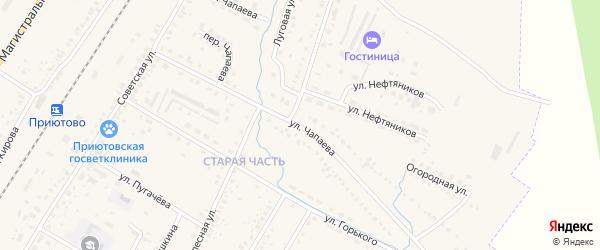 Улица Чапаева на карте поселка Приютово с номерами домов