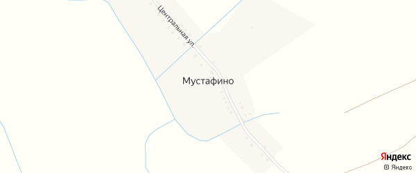 Центральная улица на карте деревни Мустафино с номерами домов