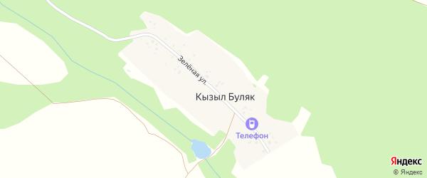 Зеленая улица на карте деревни Кызыла Буляка с номерами домов