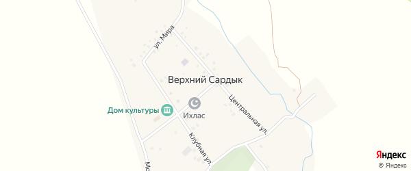 Майская улица на карте села Верхнего Сардыка с номерами домов