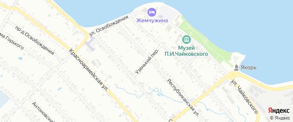 Узенький переулок на карте Воткинска с номерами домов