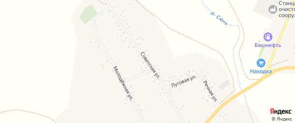 Советская улица на карте села Наратасты с номерами домов