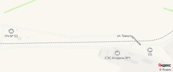 Улица Транспортников на карте Агидели с номерами домов
