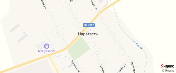 Дорожная улица на карте села Наратасты с номерами домов