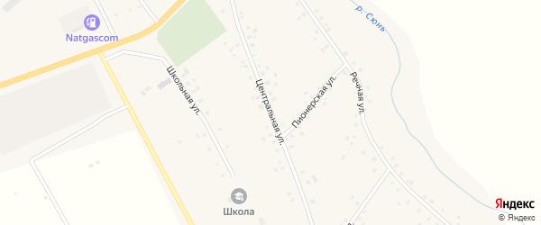Центральная улица на карте села Наратасты с номерами домов