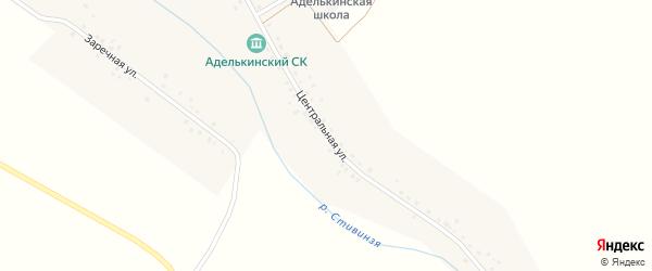 Центральная улица на карте села Аделькино с номерами домов