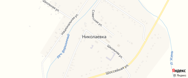 Национальная улица на карте села Николаевки с номерами домов