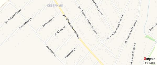 Улица им 50-летия Победы на карте села Шарана с номерами домов